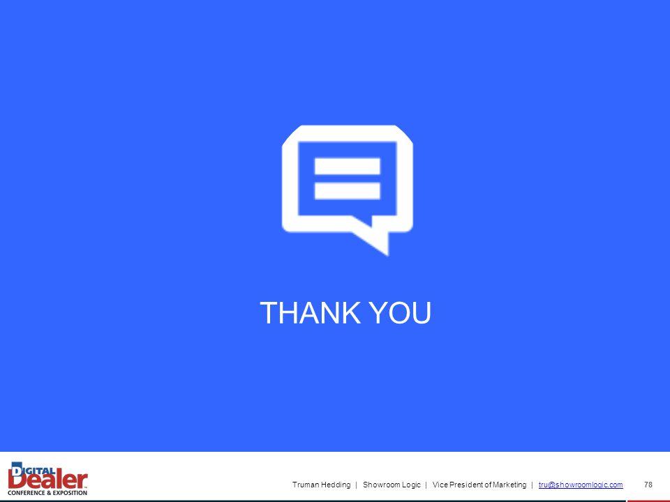 Truman Hedding | Showroom Logic | Vice President of Marketing | tru@showroomlogic.comtru@showroomlogic.com 78 THANK YOU