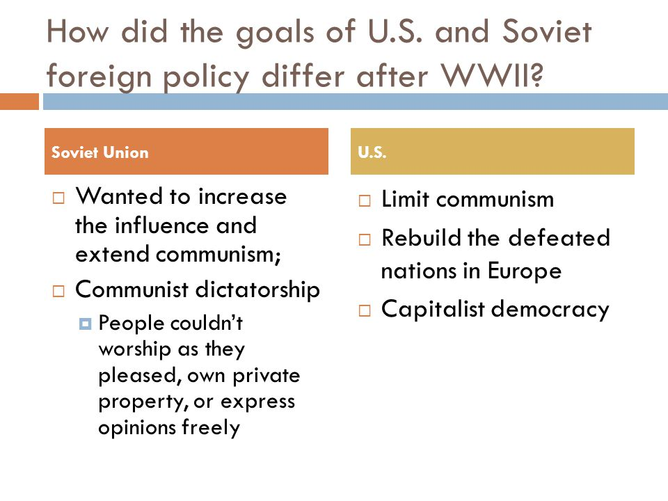 How did the goals of U.S. and Soviet foreign policy differ after WWII.