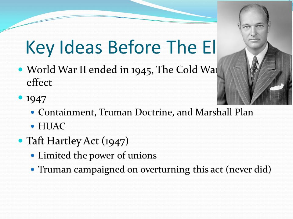 The Candidates Truman (Democrat) runs for re-election Campaigned across the country by train A la William Jennings Bryan in 1896 Thomas Dewey (Republican) 1948 Republican convention was first televised convention Henry Wallace (Progressive Ticket) Strom Thurmond (States-Rights') – Dixiecrat