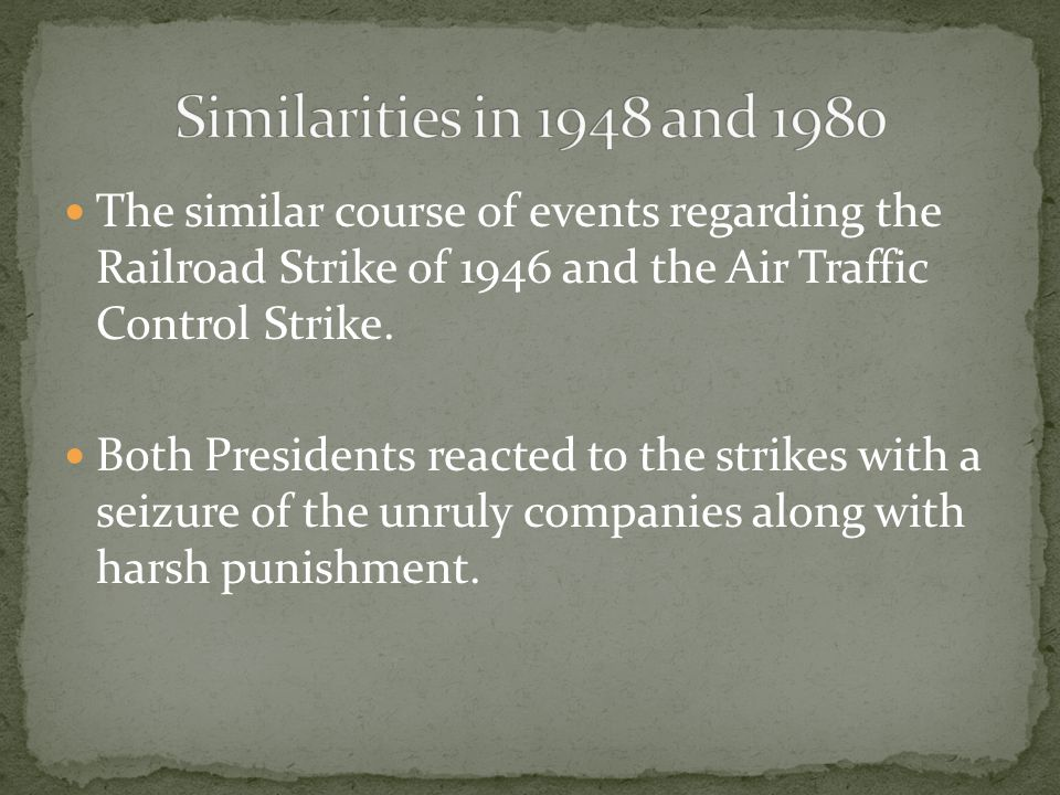 The similar course of events regarding the Railroad Strike of 1946 and the Air Traffic Control Strike.