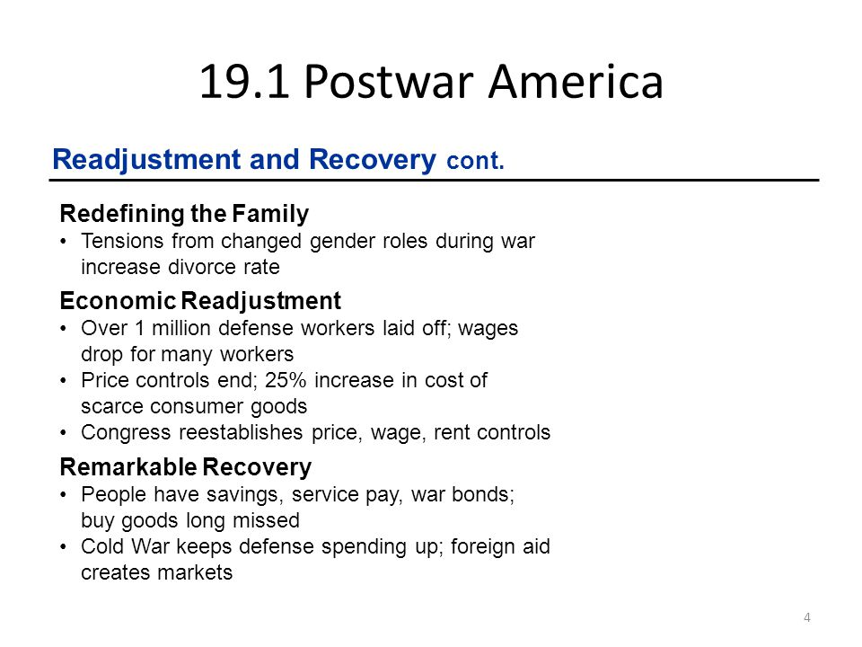 19.1 Postwar America 5 Meeting Economic Challenges President Truman's Inheritance Harry S.