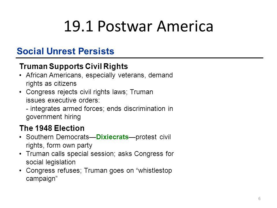 19.1 Postwar America 7 Social Unrest Persists cont.