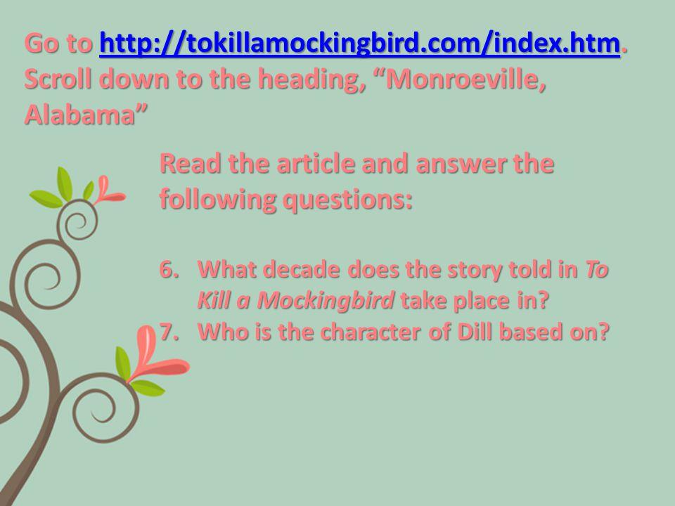 Go to http://tokillamockingbird.com/index.htm.