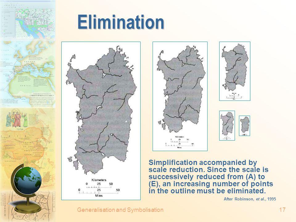 Generalisation and Symbolisation16  Elimination Point elimination Area elimination  Smoothing Filtering Simplification manipulations