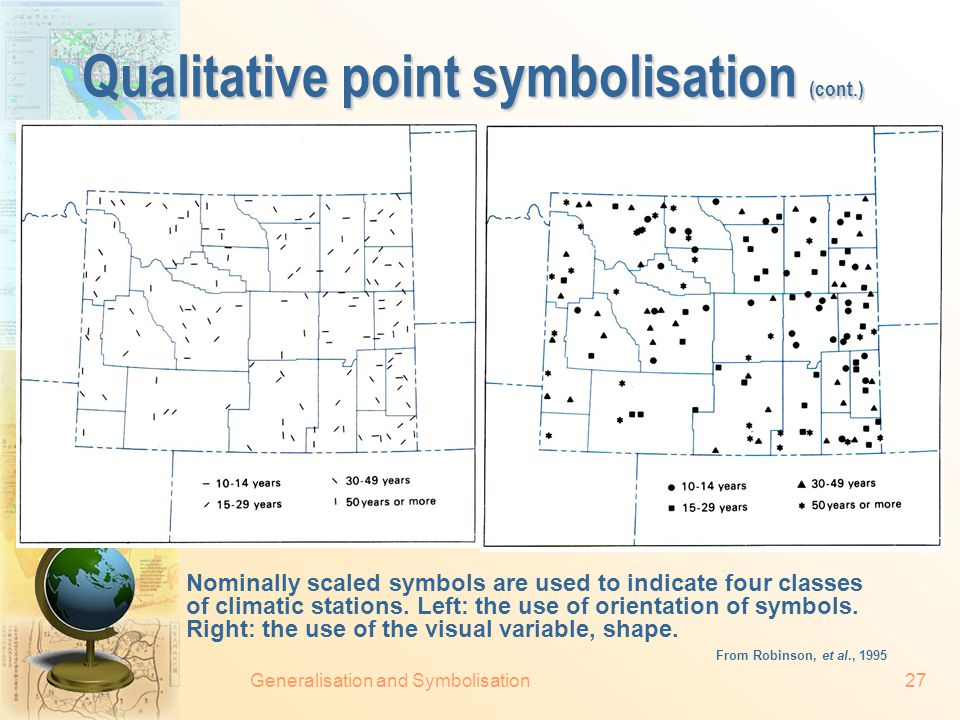 Generalisation and Symbolisation26 Qualitative point symbolisation Nominally scaled pictorial symbols on a map promoting winter activities in a portion of the state of Wisconsin.