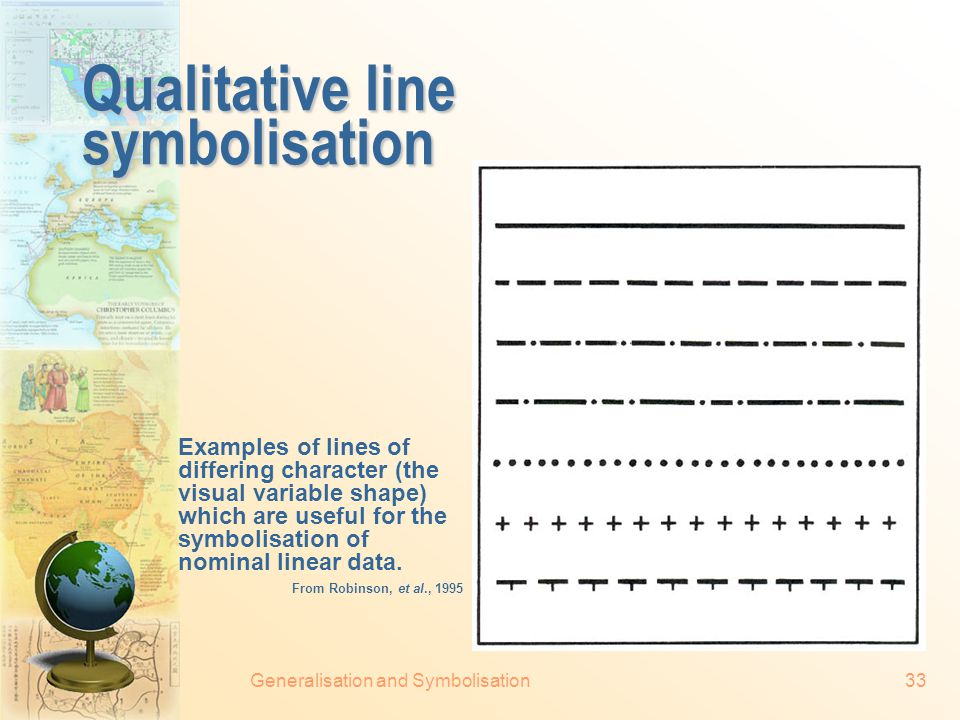 Generalisation and Symbolisation32 Use of visual variable (cont.) Left: total population is symbolised by size, while percentage of black inhabitants is symbolised by the value (colour).