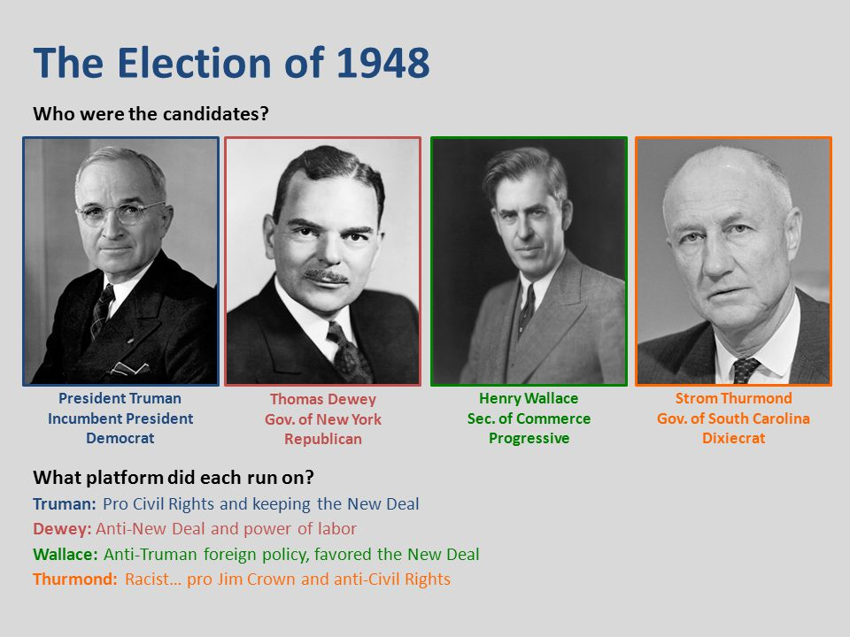 The Election of 1948 Who were the candidates. What platform did each run on.
