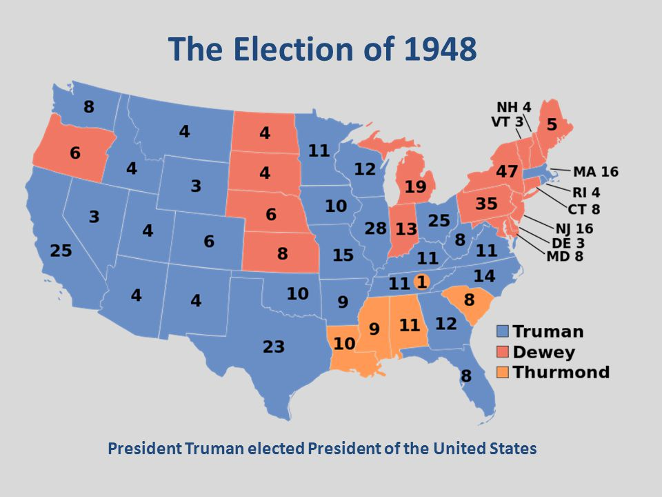 The Election of 1948 President Truman elected President of the United States