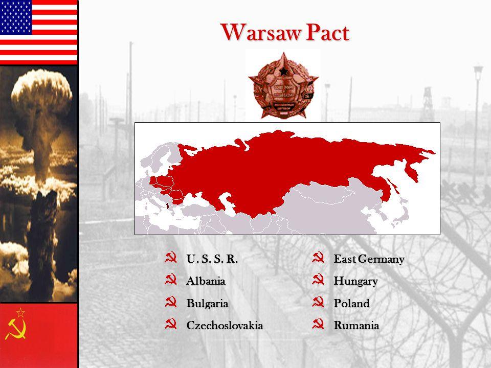 Warsaw Pact }U. S. S. R. }Albania }Bulgaria }Czechoslovakia }East Germany }Hungary }Poland }Rumania
