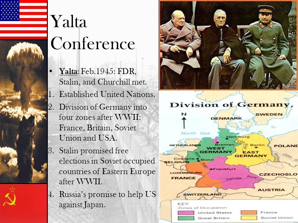 Yalta Conference Yalta: Feb.1945: FDR, Stalin, and Churchill met. 1.Established United Nations. 2.Division of Germany into four zones after WWII: Fran