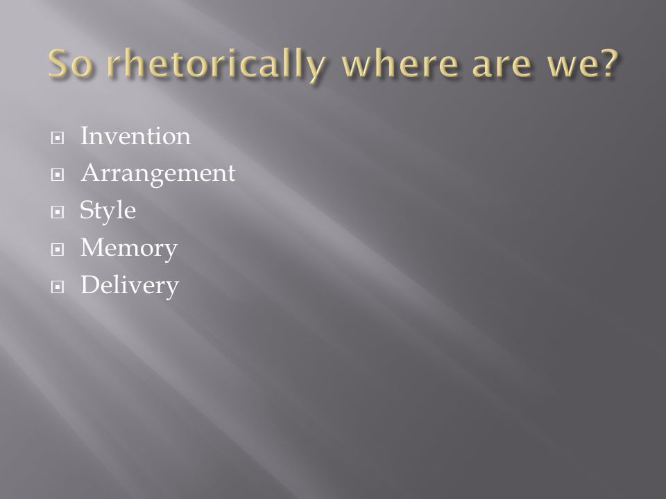  Invention  Arrangement  Style  Memory  Delivery