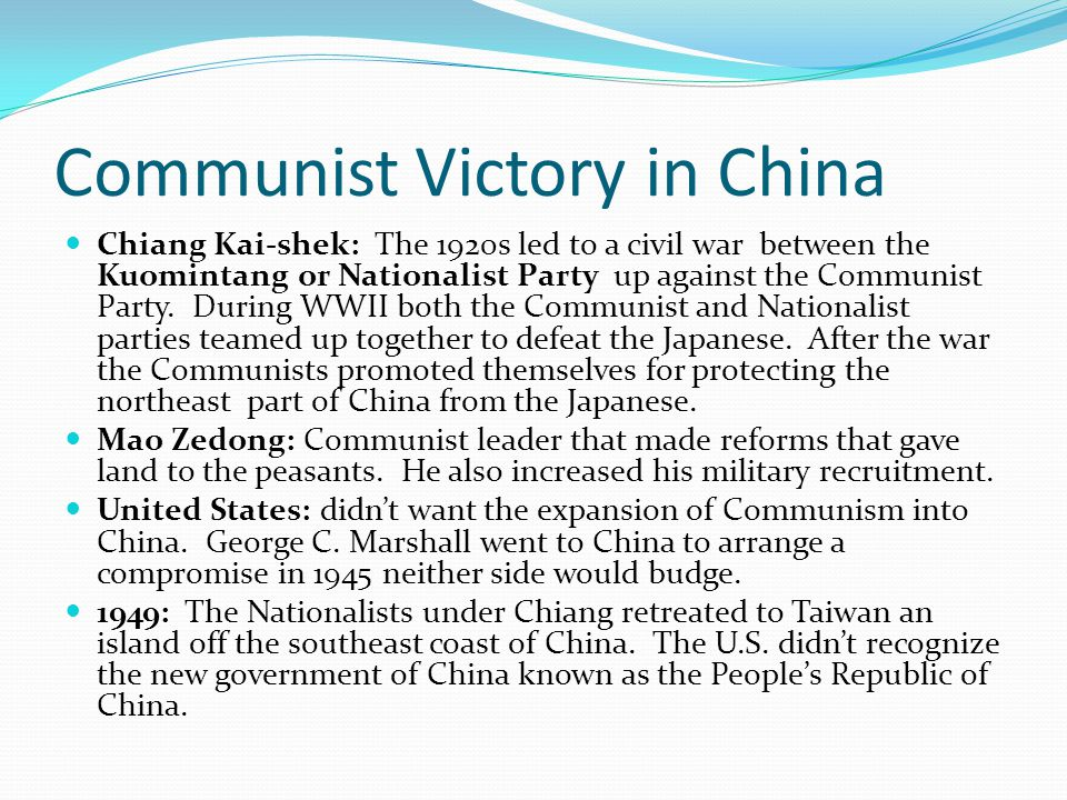 Communist Victory in China Chiang Kai-shek: The 1920s led to a civil war between the Kuomintang or Nationalist Party up against the Communist Party. D