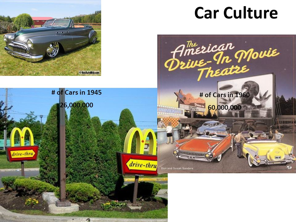 Car Culture # of Cars in 1945 26,000,000 # of Cars in 1960 60,000,000