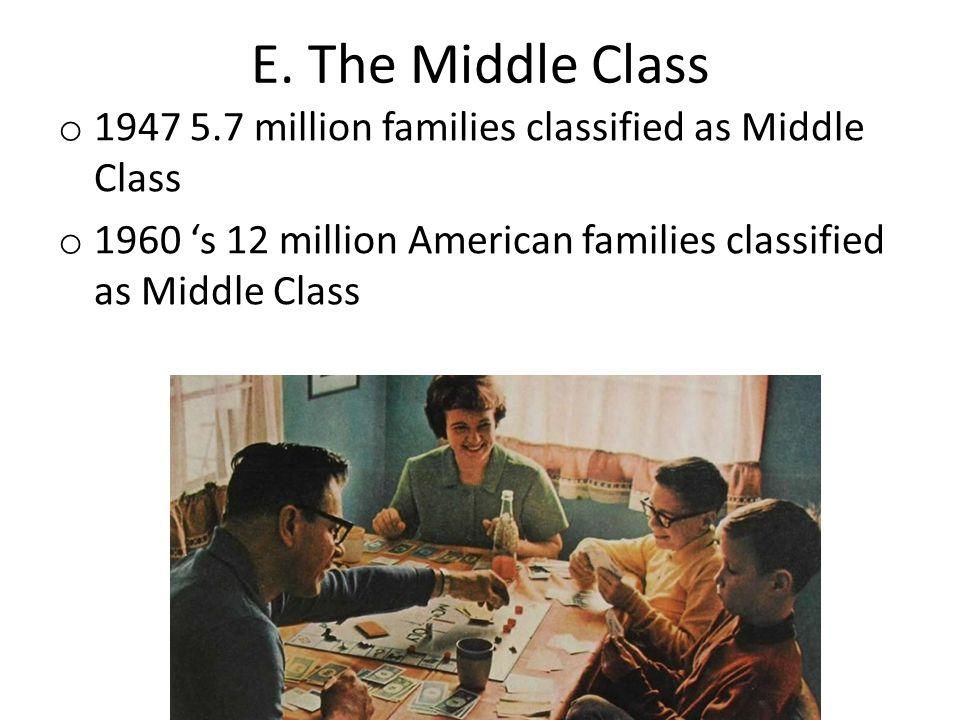 E. The Middle Class o 1947 5.7 million families classified as Middle Class o 1960 's 12 million American families classified as Middle Class