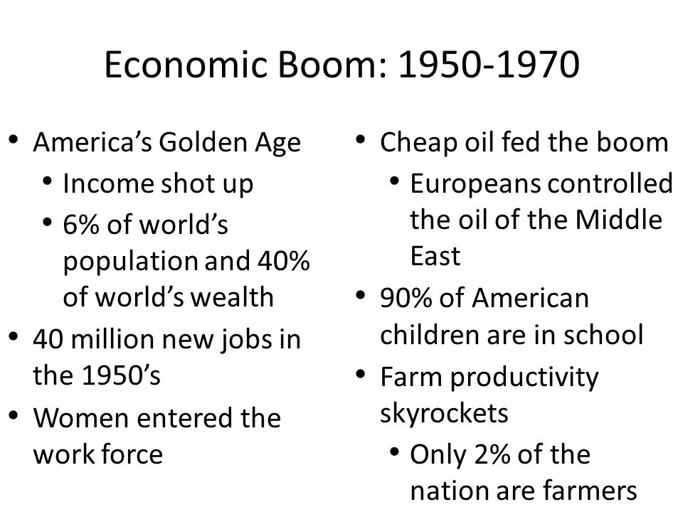 Economic Boom: 1950-1970 America's Golden Age Income shot up 6% of world's population and 40% of world's wealth 40 million new jobs in the 1950's Women entered the work force Cheap oil fed the boom Europeans controlled the oil of the Middle East 90% of American children are in school Farm productivity skyrockets Only 2% of the nation are farmers