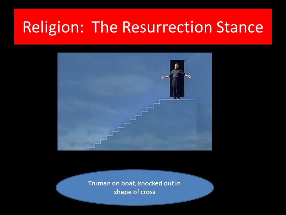 Religion: The Resurrection Stance Truman on boat, knocked out in shape of cross