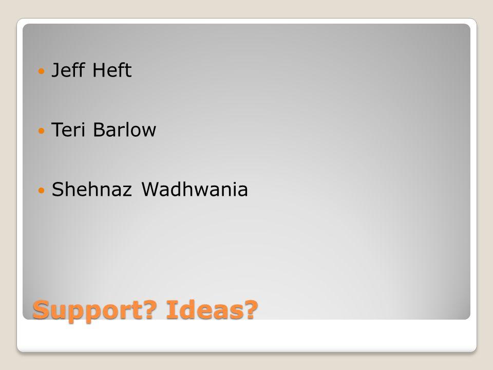 Support? Ideas? Jeff Heft Teri Barlow Shehnaz Wadhwania