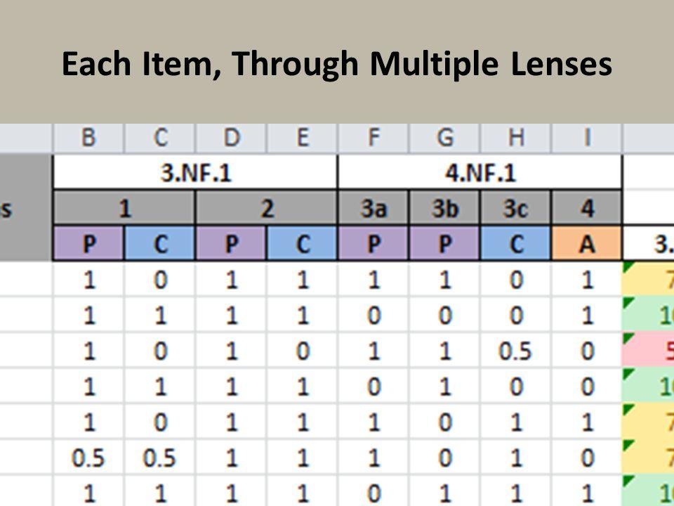 Each Item, Through Multiple Lenses