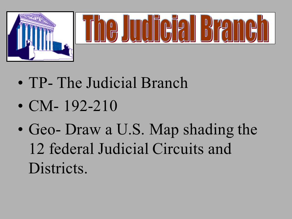 TP- The Judicial Branch CM- 192-210 Geo- Draw a U.S.
