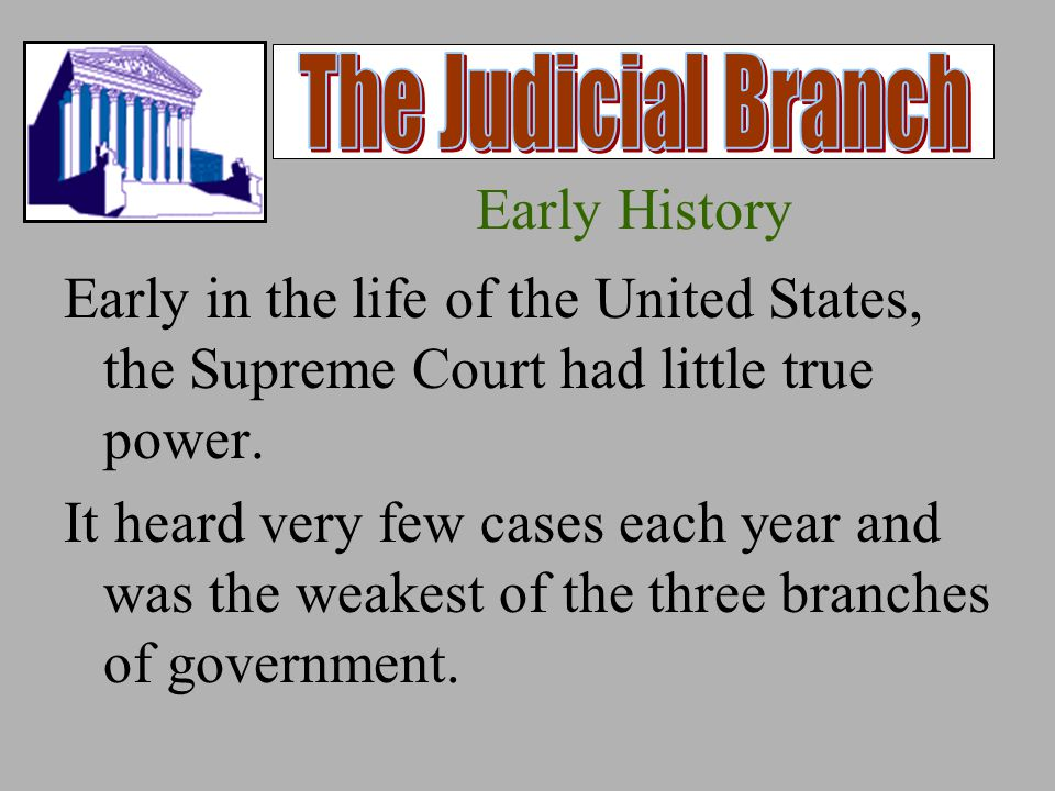 Early History In the early 1800's, however, the court's power increased because of Chief Justice John Marshall.