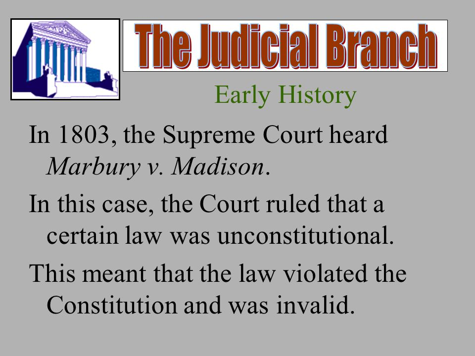 Early History In 1803, the Supreme Court heard Marbury v.