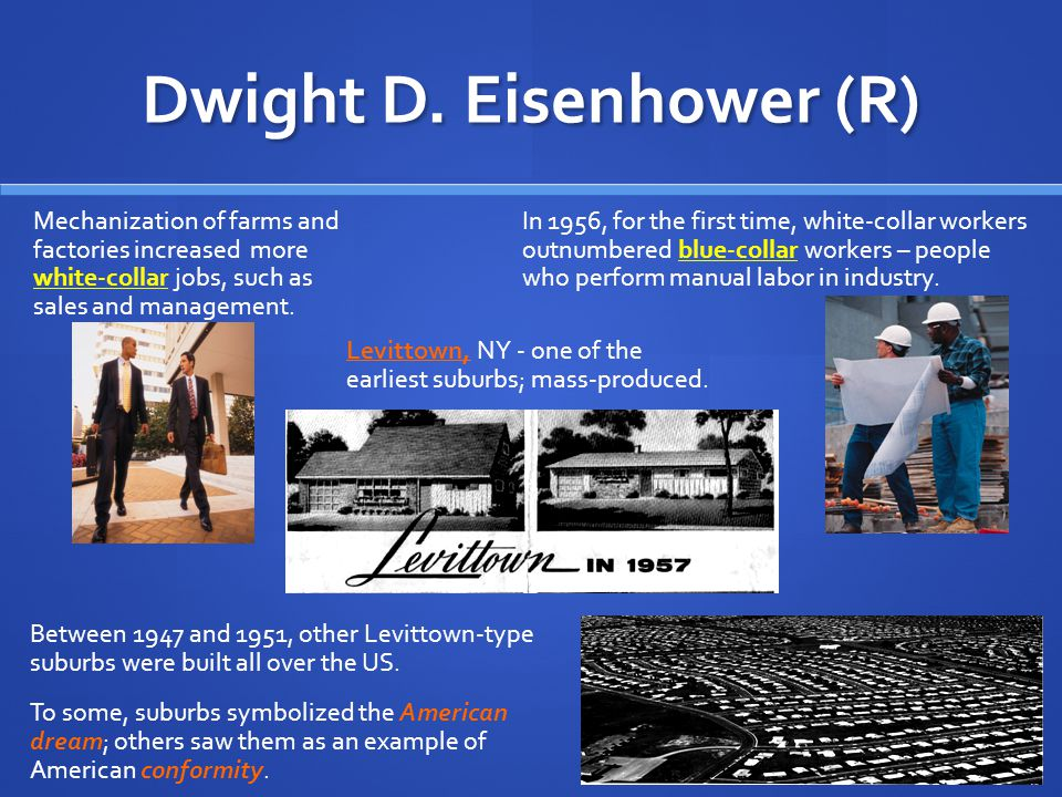 Dwight D. Eisenhower (R) Interstate Highways Eisenhower described his political beliefs as midway between conservative and liberal. He pushed for pass