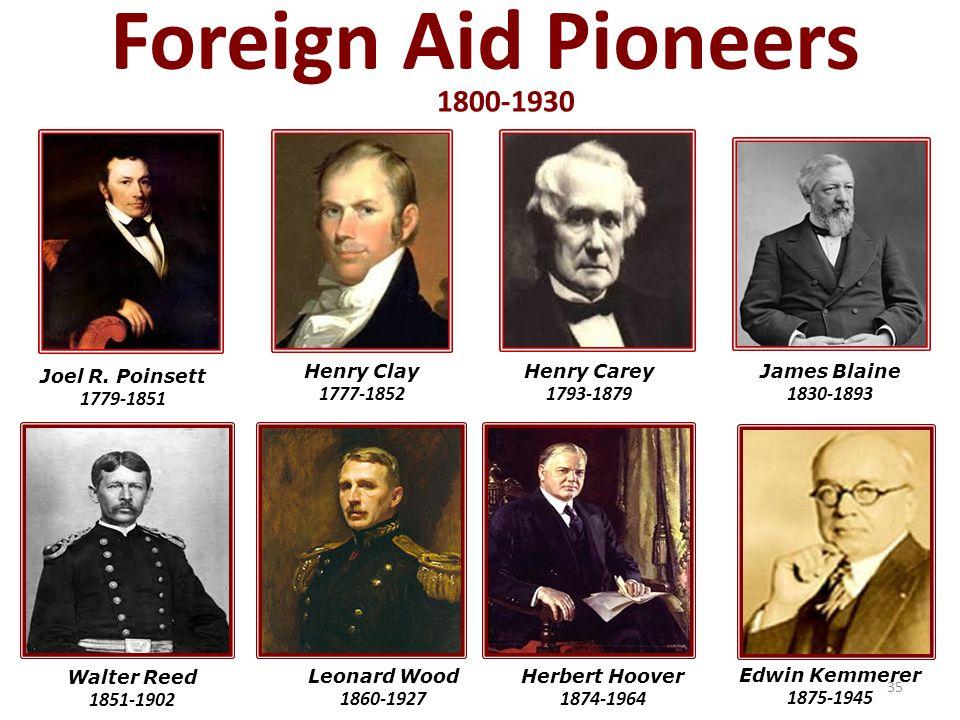 Foreign Aid Pioneers Leonard Wood 1860-1927 Herbert Hoover 1874-1964 Edwin Kemmerer 1875-1945 Walter Reed 1851-1902 Joel R.