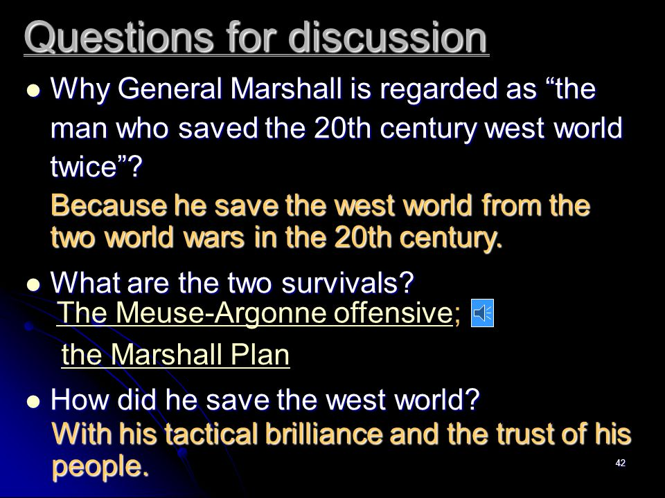 41 the Marshall Plan in 1953, which he accepted as a the whole American people. won for Marshall the Nobel Peace Prize tribute to n.