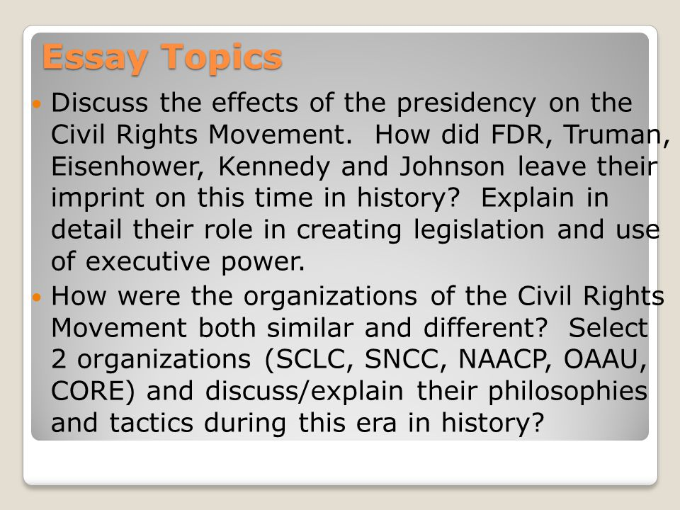 Essay topics on the civil rights movement
