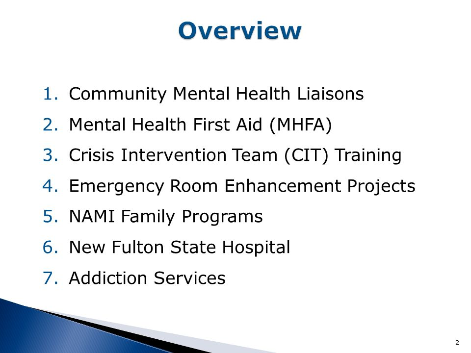2 1.Community Mental Health Liaisons 2.Mental Health First Aid (MHFA) 3.Crisis Intervention Team (CIT) Training 4.Emergency Room Enhancement Projects 5.NAMI Family Programs 6.New Fulton State Hospital 7.Addiction Services