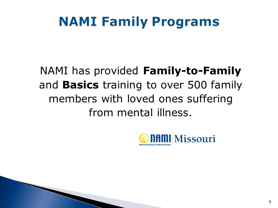 NAMI has provided Family-to-Family and Basics training to over 500 family members with loved ones suffering from mental illness. 9