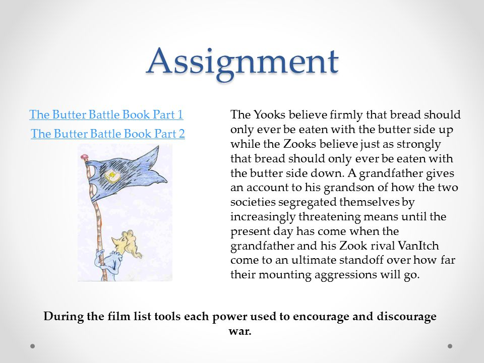 Assignment The Butter Battle Book Part 1 The Butter Battle Book Part 2 During the film list tools each power used to encourage and discourage war.