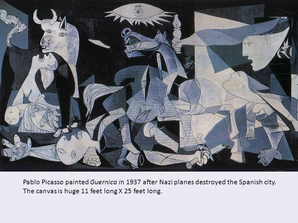 Pablo Picasso painted Guernica in 1937 after Nazi planes destroyed the Spanish city. The canvas is huge 11 feet long X 25 feet long.