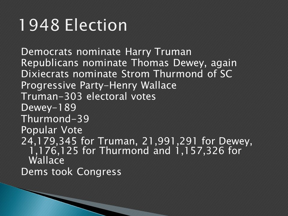 Democrats nominate Harry Truman Republicans nominate Thomas Dewey, again Dixiecrats nominate Strom Thurmond of SC Progressive Party-Henry Wallace Truman-303 electoral votes Dewey-189 Thurmond-39 Popular Vote 24,179,345 for Truman, 21,991,291 for Dewey, 1,176,125 for Thurmond and 1,157,326 for Wallace Dems took Congress