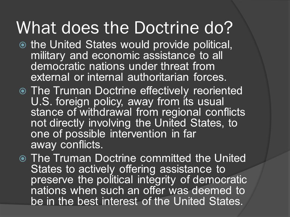 What does the Doctrine do.