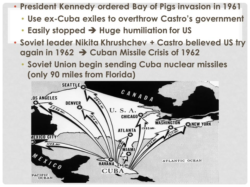 President Kennedy ordered Bay of Pigs invasion in 1961 Use ex-Cuba exiles to overthrow Castro's government Easily stopped  Huge humiliation for US So