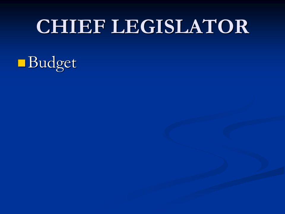 CHIEF LEGISLATOR Budget Budget