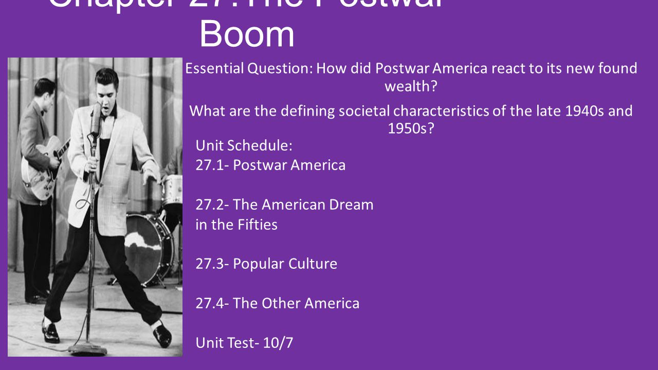 27.1 Postwar America Lesson Objective: To understand the social, economic, and political readjustment of the United States following World War II Essential Question: How does prosperity effect American society?