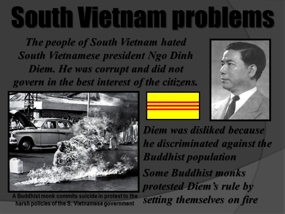 South Vietnam problems A Buddhist monk commits suicide in protest to the harsh policies of the S. Vietnamese government The people of South Vietnam ha