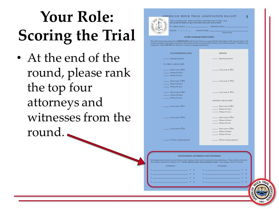 Your Role: Scoring the Trial At the end of the round, please rank the top four attorneys and witnesses from the round.