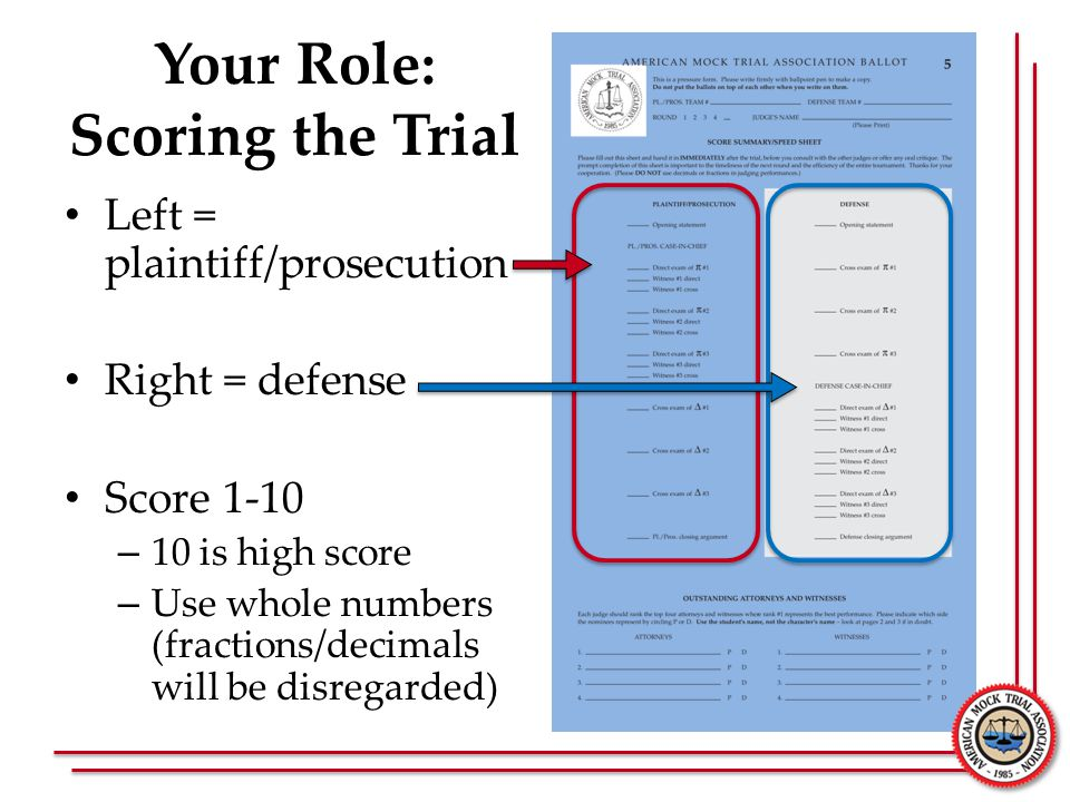 Your Role: Scoring the Trial Left = plaintiff/prosecution Right = defense Score 1-10 – 10 is high score – Use whole numbers (fractions/decimals will b