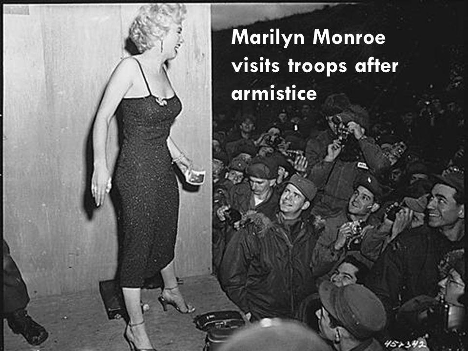 Marilyn Monroe visits troops after armistice