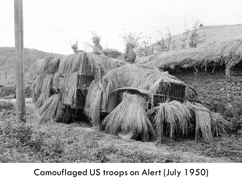 Camouflaged US troops on Alert (July 1950)
