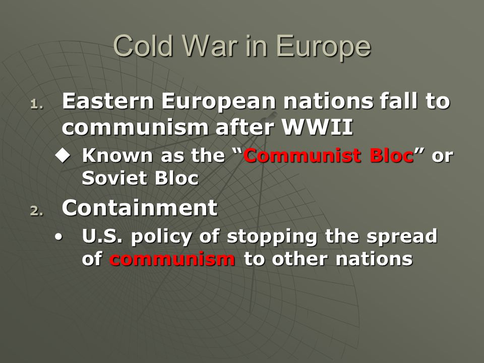 Cold War in Europe 1.