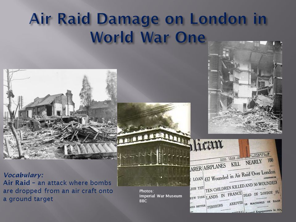 Photos: Imperial War Museum BBC Vocabulary: Air Raid – an attack where bombs are dropped from an air craft onto a ground target