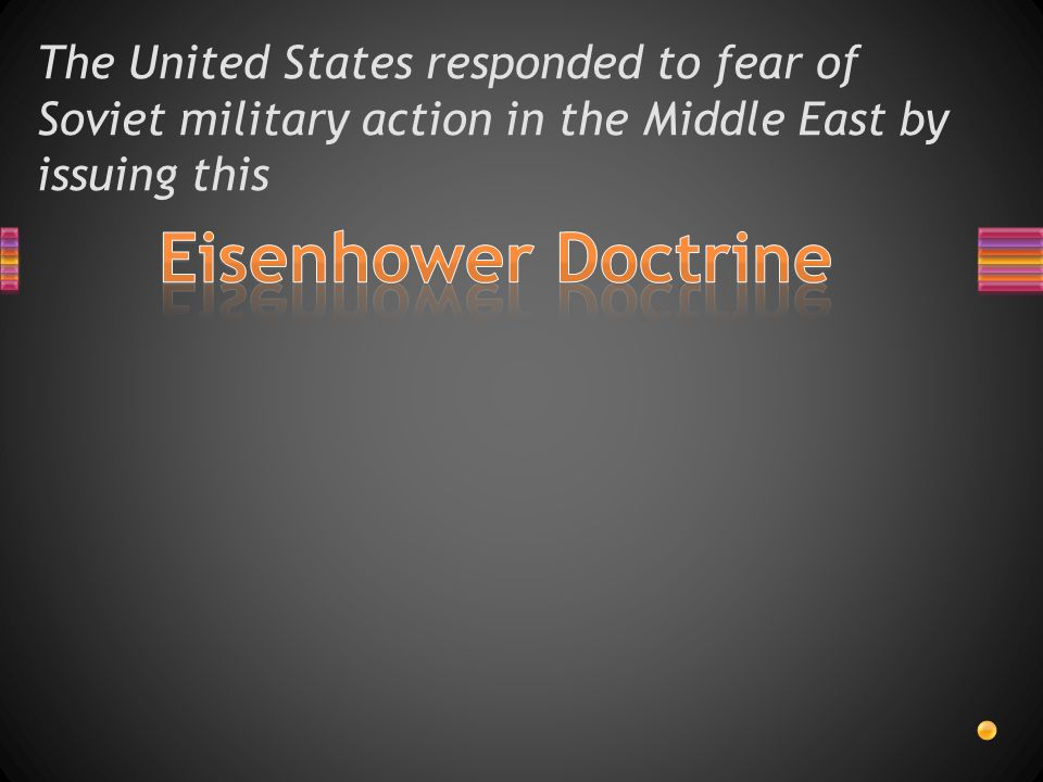 The United States responded to fear of Soviet military action in the Middle East by issuing this