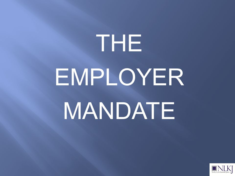 THE EMPLOYER MANDATE