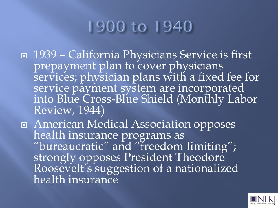  1939 – California Physicians Service is first prepayment plan to cover physicians services; physician plans with a fixed fee for service payment system are incorporated into Blue Cross-Blue Shield (Monthly Labor Review, 1944)  American Medical Association opposes health insurance programs as bureaucratic and freedom limiting ; strongly opposes President Theodore Roosevelt's suggestion of a nationalized health insurance