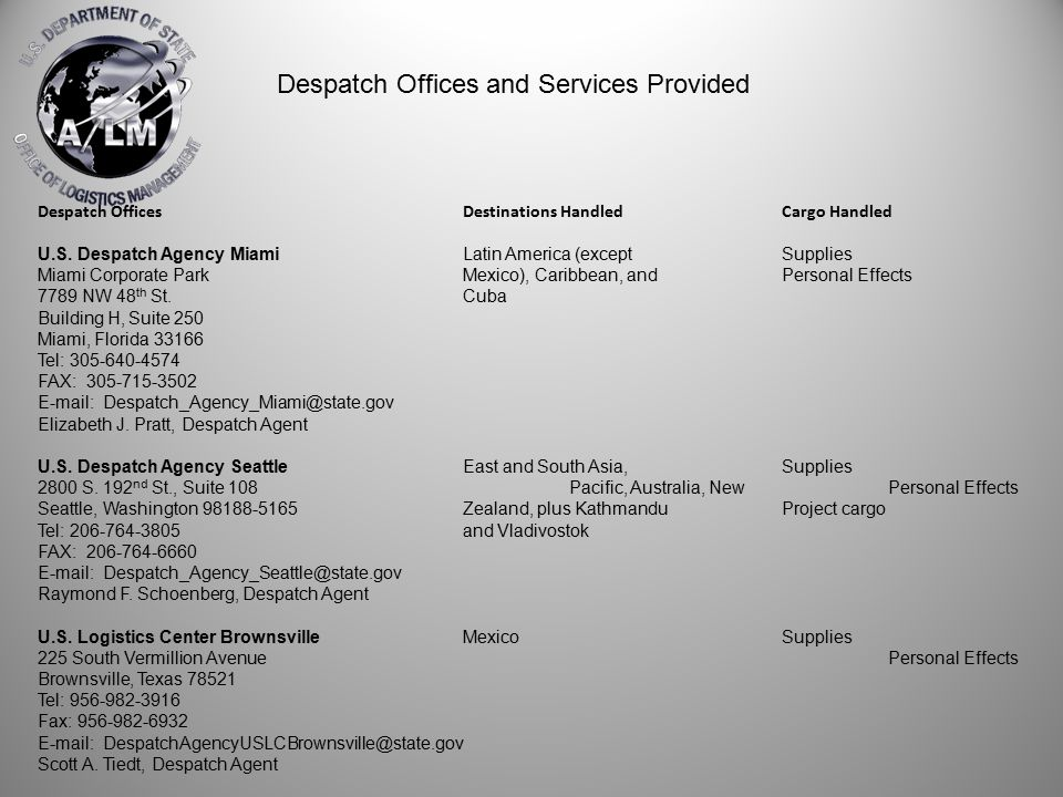 Despatch OfficesDestinations HandledCargo Handled U.S. Despatch Agency MiamiLatin America (exceptSupplies Miami Corporate ParkMexico), Caribbean, andP