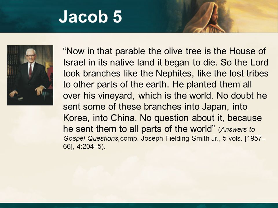 "Jacob 5 ""Now in that parable the olive tree is the House of Israel in its native land it began to die. So the Lord took branches like the Nephites, li"